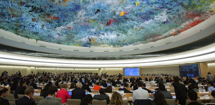 Sala de Derechos Humanos y Alianza de Civilizaciones en el Palacio de las Naciones de la ONU.